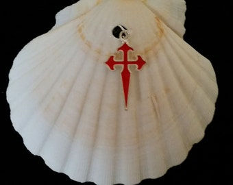 Camino de Santiago Scallop Shell with Cross of St James / Pilgrim