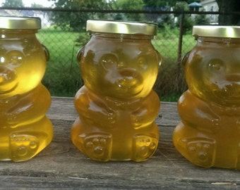 Raw Honey in Glass Honey Bear Jar 14 oz.