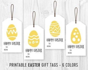 Printable Easter Favor Tags / DIY Easter Eggs gift tags / DIY Easter Party Tag / Minimalist Printable Easter Tags - 4 different designs