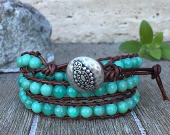 Blue Aqua Quartzite Triple Wrap Leather Bracelet