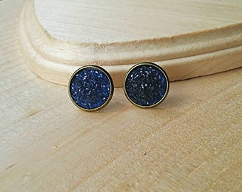 Druzy Stud Earrings, Druzy Earrings, Druzy Studs, Faux Druzy Earrings, Faux Druzy Studs, Hypoallergenic, Bronze Earring, Navy, Blue