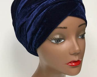 """Kamto Collections Velvet Turban Head Wrap with Two Straps, 62"""" long"""