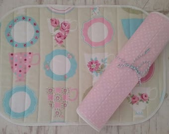 Placemats - Table Mats - Shabby Chic Table Mats - Fabric Table Mats - Pink/Blue Table Mats - Reversible Table Mats - Quilted Placemats