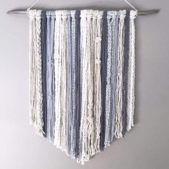 Yarn Wall Hanging // MADE TO ORDER / Wall Hanging / Grey Charcoal Cream White Neutral / Nursery Art / Home Decor / Boho / Wall Art /