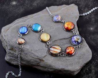 Solar System Necklace, Stainless steel Necklace, Nine Planet Necklace, Galaxy Necklace, Space Necklace, Solar System Jewelry
