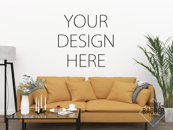 Mockup Blank Wall Art Empty Mock Living Room Picture Poster Interior Nordic Scandinavian Yellow