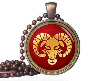 Aries pendant - Aries necklace - Zodiac jewelry Aries jewelry - Aries birthday gift Aries Gift