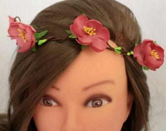 Flower crown Pink Bridal headband Pink floral crown Floral halo Flower crown floral crown Boho headband Wedding headband Floral wreath