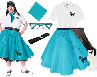 7 Pc 50s Adult POODLE SKIRT Outfit Plus Sizes