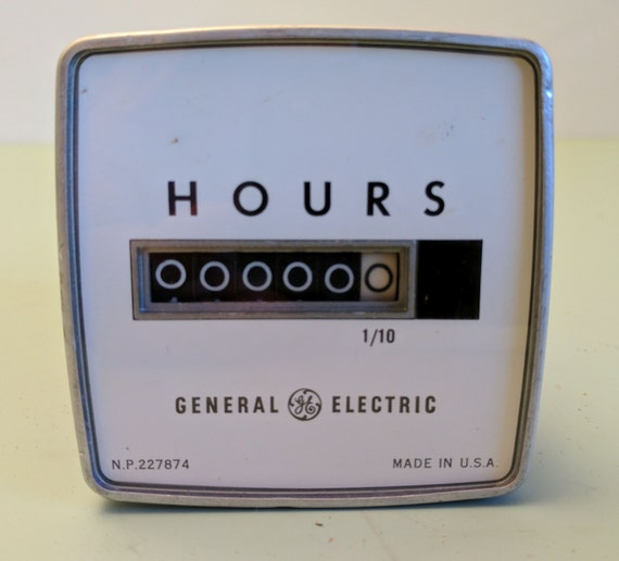 Hour Meter Made In Usa : General electric hour running time meter from