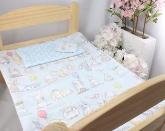 Blue Bunny bed set / Ikea Duktig doll bed set / Bunny bed spread for ikea doll bed