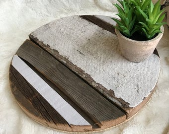 Round, tray, circle, reclaimed, barn wood, wall decor