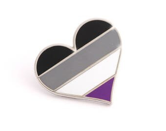 Asexual pride pin, gay lapel pin, Asexual flag pin, heart enamel pin, gay decoration, ace community