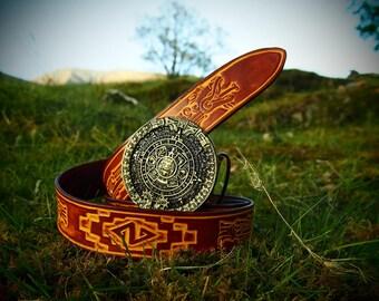 aztec belt, aztec dragon, aztec calendar, native american belt