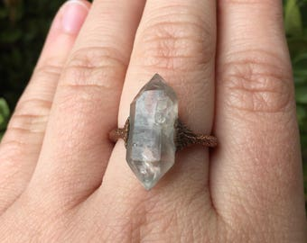 Oxidized Copper electroformed Herkimer diamond ring