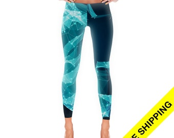 Blue yoga pants | Etsy