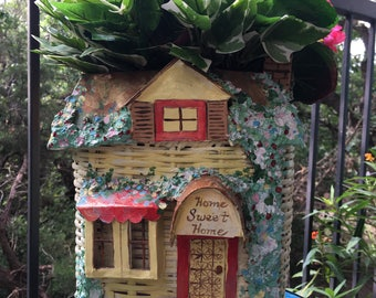 Home Sweet Home fairy cottage planter/basket