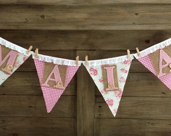Personalised vintage shabby chic cake smash high chair first birthday baby shower bunting