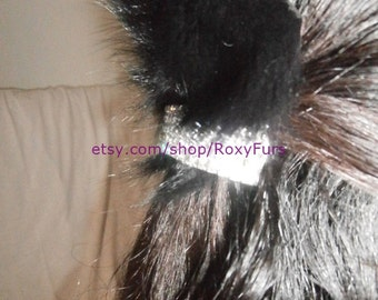 hair clips slides trimmed with fur