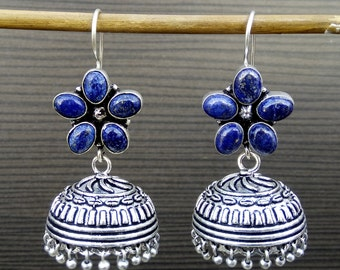 Boho Gypsy earrings   Lapis Lazuli Earrings   Oxidized silver plated earring   Anniversary gift jewelry earrings   Ethnic gift earring   E78