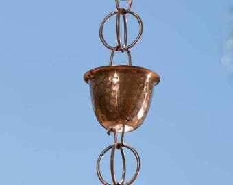 Pure Copper Hammered Cup Rain Chain Extension 3 ft