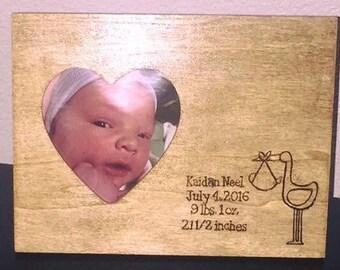 Wood Burned Baby Frame