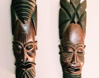 SALE // Vintage Pair of Large Hand-Carved Tribal Warrior Masks / Eclectic Boho Wall Decor