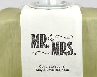 Wedding Favors Tea Towels, Personalized Mr. & Mrs. Tea Towels - Set of 1