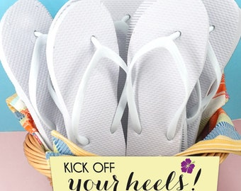 Wedding Flip Flops, White Flip Flops - Set of 6, Assorted Sizes