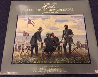 Vintage 1996 Mort Kunstler Civil War Legends In Gray Calendar with original packaging