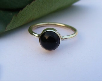 Black Onyx Ring, Pure 925 Sterling Silver Ring, Natural Black Onyx Gemstone Ring, Stacking Ring, Black Stone Ring, Black Onyx Jewelry