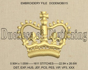 Tiny Crown Embroidery Design, Tiny Crown Embroidery file, DODEMOB015