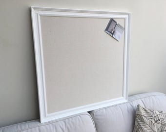 Large white pin board. White notice board. White bulletin board. Fabric memo board. White message board. Linen cork board. Linen pin board.