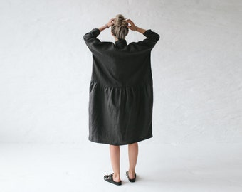 LINEN dress OVERSIZED dark grey LOOSE dress one size