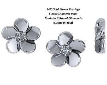 FREE SHIPPING,Flower Stud Earrings,Screwback Earrings,Flower Diamond Earrings,Flower Earrings,Small Earrings,Stud Earrings,Stud Flower