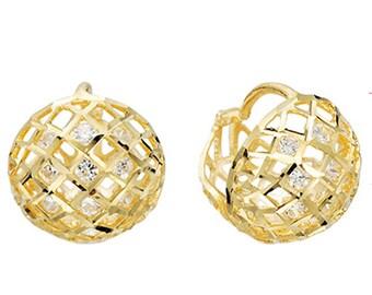 14k Solid Yellow Gold Earrings 6564 Charming Shine Ball Design Lovely