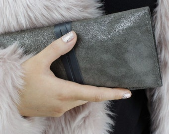 Brodie Grey Suede Clutch Bag, Suede Clutch, Sparkle Clutch, Sparkle Suede Bag, Suede Bag, Suede Purse, Charcoal Purse, Grey Bag, Evening Bag