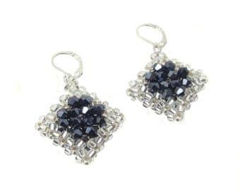 Earrings - earrings - Crystal cut glass - Hematite / Silver (BS-1342)