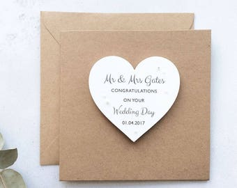 Personalised Wedding Keepsake Card with removable wooden Heart Magnet. Wedding gift, greetings card