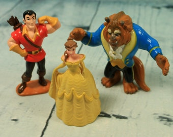 Vintage Beauty and the Beast Disney figures x 3