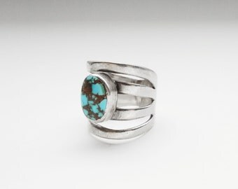 Unique Turquoise  • Size 4  •  Vintage Native American Navajo Sterling Pinky Ring