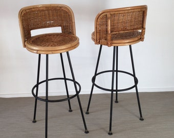 Set of 2 mid century 50's 60's bar stool/Seng of Chicago swivel Wicker & iron bar stool