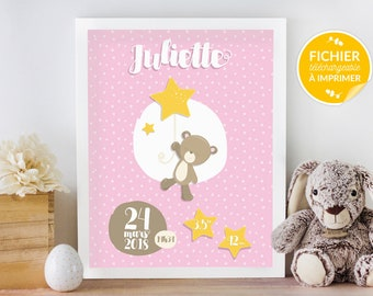 Custom poster child's room, print yourself - gift of birth, shows bear