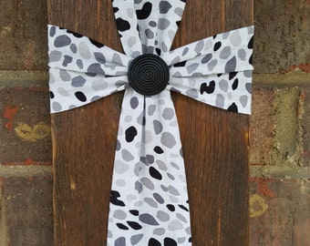 Fabric Cross on Wood, Handmade, Wall Hanging, Decoration, Religious Home & Decor, Wedding Gift, Easter Gift, Mother's Day Gift