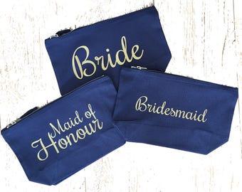 Navy Make Up Bag, Wedding, Bride, Bridesmaid, Maid of Honour, Gift, Bag, Travel, cosmetic bag