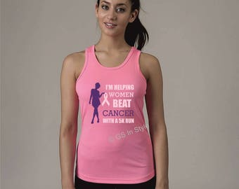 Personalised 'I'm helping women beat cancer' girlie cool vest