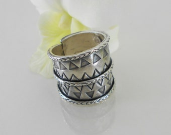 Karen Hill Tribe Silver Wrap  Ring with Triangular Elements- Adjustable Ring- Sterling Silver Ring - Women ring