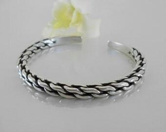 Hill Tribe Silver Braided Bangle Bracelet -Sterling Silver Bracelet - Silver Bracelet Men