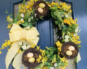 Spring Wreath, Spring Door Wreath, Yellow Door Wreath, Front Door Wreath,  Birdnest