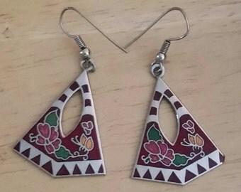 FUN Enamel Dangle Earrings Silver Tone Estate Sale Jewelry